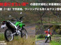 """""""林道行きたい病""""の諸症状緩和と栄養補給に。 一錠(一台)で市街地、ツーリングにも効くおクスリ、登場。 Kawasaki KLX230"""